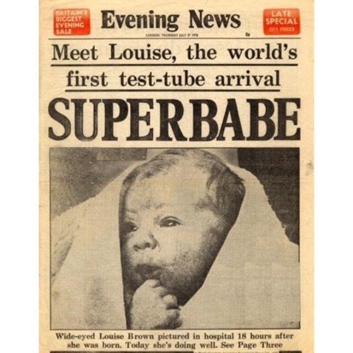 """25 июля 1978 — родился первый на Земле человек """"из пробирки""""."""